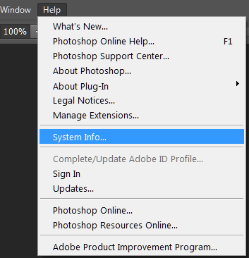 Image result for photoshop system info
